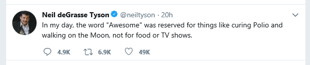 Neil deGrasse Tyson tweet about Awesome