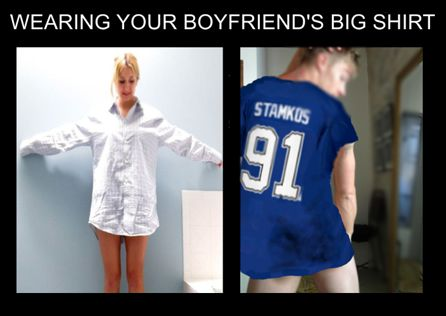 wearing your boyfriend's big shirt
